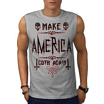 Gjør Amerika Goth menn GreySleeveless t-skjorte | Wellcoda