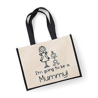 Large Black Jute Bag I'm Going To Be A Mummy