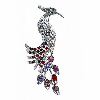 Silver Casting Feather Decorated Mulitcolor Rhinestones Peacock Brooch
