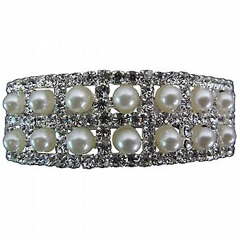 Bridal Barrette Silver Pearls & Rhinestone Lovely For Bride