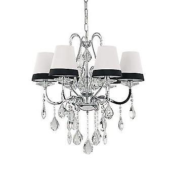 Ideal Lux - Domus Chrome et cristal Six lustre lumière avec IDL093147 de nuances de noir et blanc