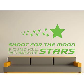Shoot For The Moon Wall Art Sticker - Apple Green