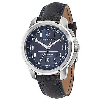 Maserati Successo Blue Dial Dark Blue Leather Strap R8851121003 Watch