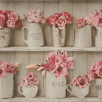 Pink Grey Flowerpot Wood Shelf Wallpaper Kitchen Bathroom Washable Vinyl Rasch