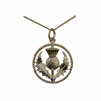 9ct Gold 19mm Scottish Thistle Pendant with a twisted wire surround with a curb Chain 20 inches