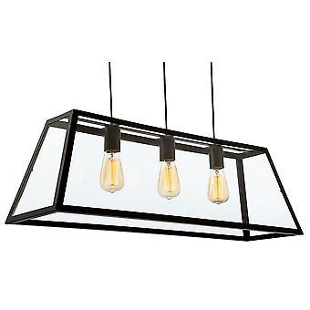 Firstlight-3 techo ligero colgante negro, vidrio transparente-3438BK
