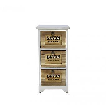 Furniture Rebecca Comodino 3 White White Drawers Brown Wood Retro 63x30x30