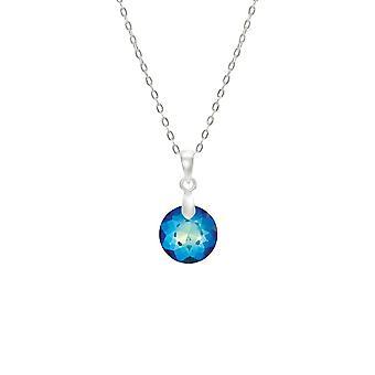 Eeuwige collectie magische Bermuda blauwe Oostenrijkse Crystal Petite ronde Sterling zilveren hanger