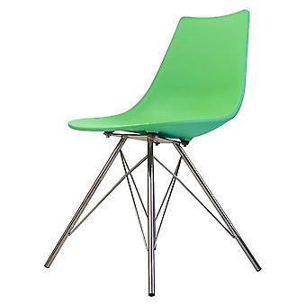 Fusion Living Iconic Peppermint Plastic daning Chair con gambe in metallo cromato