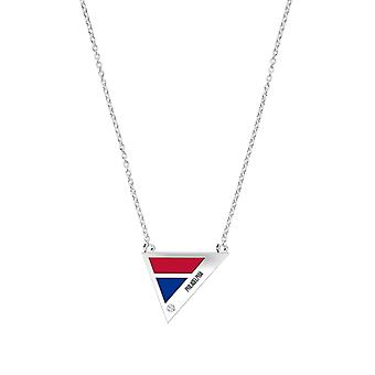 Philadelphia Phillies Engraved Sterling Silver Diamond Geometric Necklace In Red and Blue