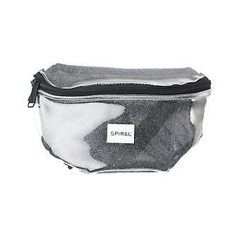 Spiral Transparent Sparkle Bum Bag in Silver
