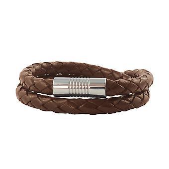 Cordon en cuir en cuir 4 mm collier homme brun 17-100 cm de long avec fermage magnétique argent tressé