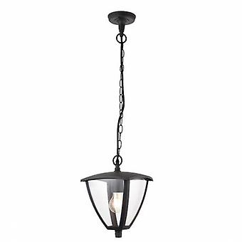 1 Light Outdoor Ceiling Lantern Pendant Light Clear Polycarbonate, Textured Grey Paint Ip44