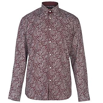 Pierre Cardin Mens manga comprida camisa impressa casual Top Button regular