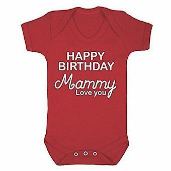 Happy birthday mammy red short sleeve babygrow