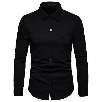 Allthemen Men's Business Casual Shirt Autumn Slim Fit Long Sleeve Shirt