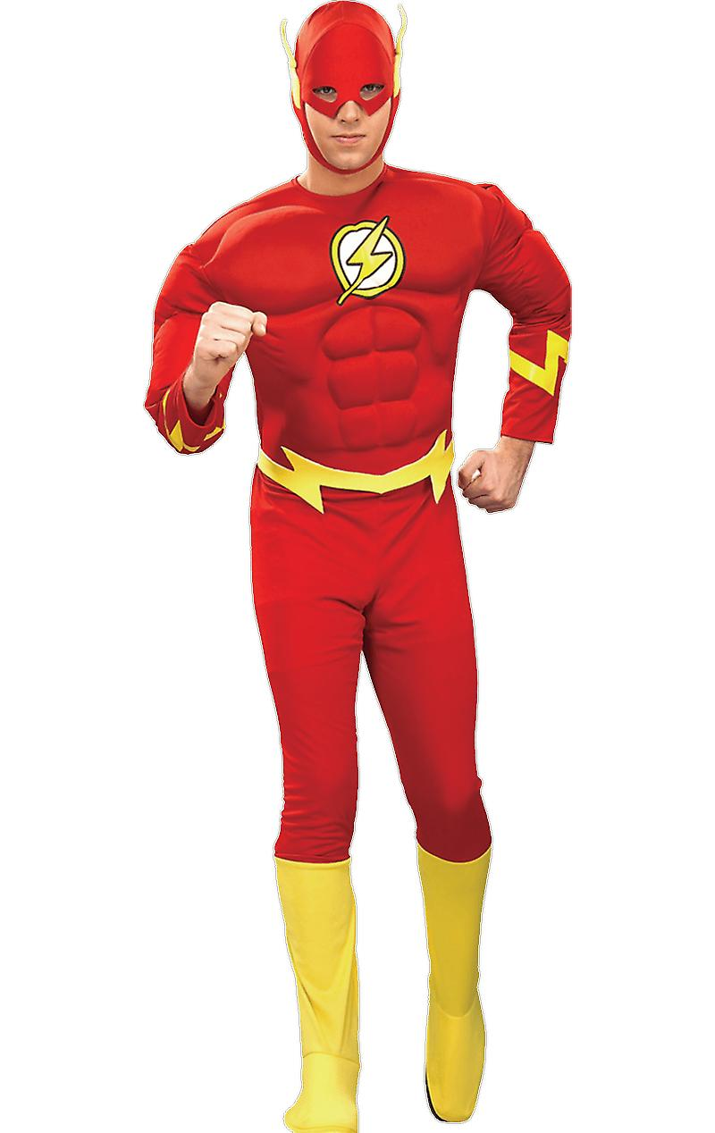 Mens Official The Flash Costume Muscle Chest Superhero Comic Fancy Dress