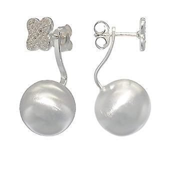 Melina ? Kvinnors örhängen med fyrklöver kombination - silver 925 och sfär med zirkoner ? 1500216