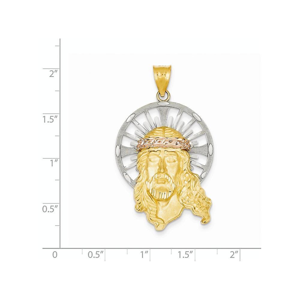 14K Tri Farbe solide Satin öffnen zurück Gold funkeln geschnitten Christ Anhänger Halskette Schmuck Geschenke für Frauen