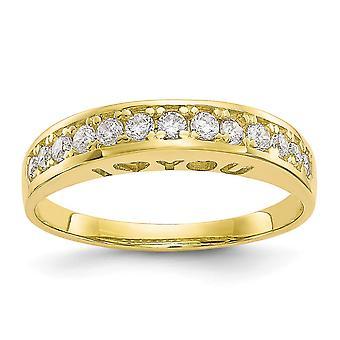 10k ouro amarelo polido Eu te amo para sempre CZ Zircônia Cuba Simulação de Joias de Anel de Diamante para Mulheres