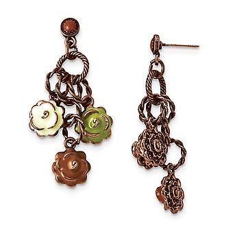 Post de acero quirúrgico tono de cobre naranja verde y marfil flores de esmalte post pendientes joyería regalos para las mujeres