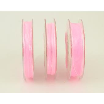 10m Baby Pink 7mm Wide Organza Craft Ribbon | Ribbons & Bows for Crafts