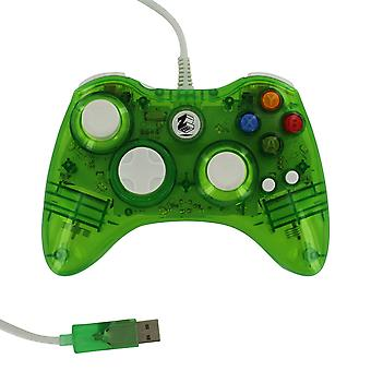 Compatible wired colour glow vibration usb controller for microsoft xbox 360 - green