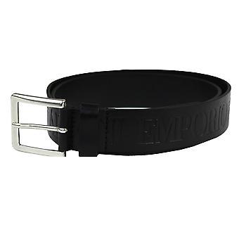 Emporio armani all over embossed logo black tongue belt