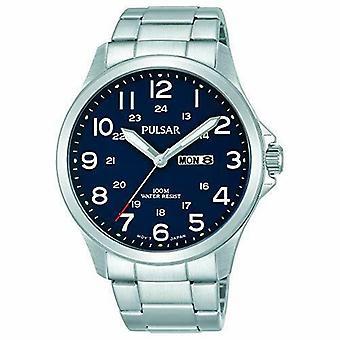 Pulsar Silver Stainless Steel Blue Dial Men's Horloge PJ6095X1