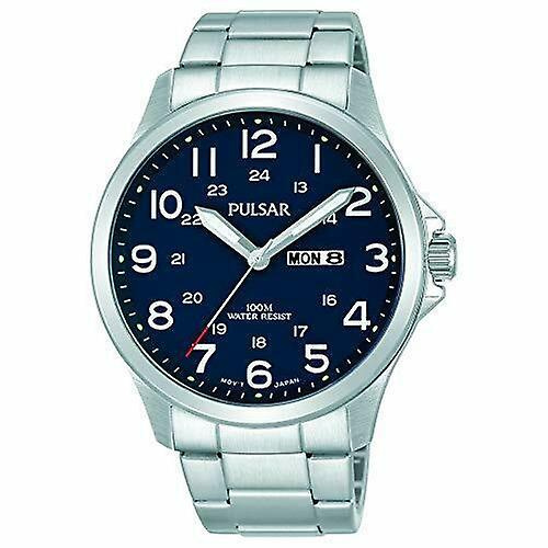 Pulsar Silver Stainless Steel Blue Dial Mens Watch PJ6095X1 RRP £89.95