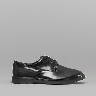 Silver Street London Ruskin Mens Leather Derby Shoes Black