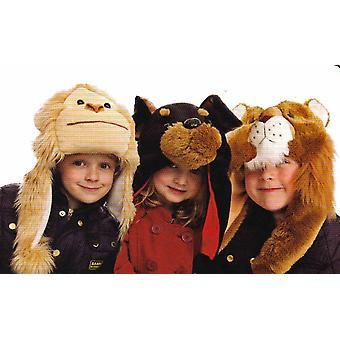 Crianças meninos meninas velo macio peludo chapéu Animal Super quente térmica inverno macaco