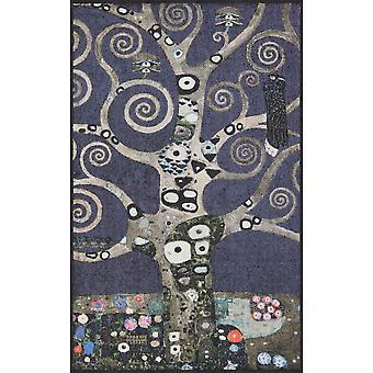 Salonloewe tree of life marine silver artist's doormat washable 75 x 120 cm