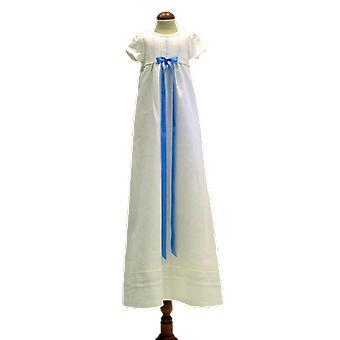 Dopklänning Grace Of Sweden, I Vitt Lin Med Smal Ljusblå Rosett.  Tr.a.k