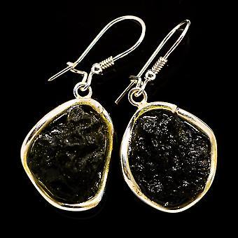 التشيكية Moldavite 925 الجنيه الاسترليني الفضة الأقراط 1 3/4 & -- اليدوية بوهو خمر مجوهرات EARR392347