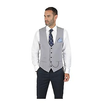 Marc Darcy Kelly Single Breasted Silver Grey Plain Waistcoat
