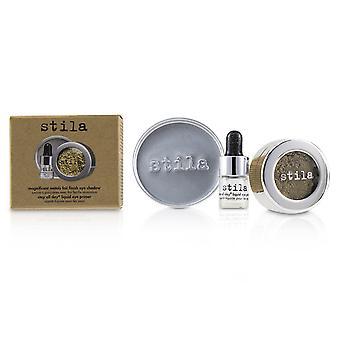 Magnifika metaller folie avsluta ögonskugga med mini vistelse hela dagen flytande öga primer vintage svart guld 228323 2st