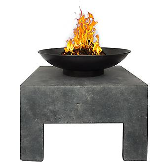 Charles Bentley Metal Fire Bowl With Square Stand Outdoor Heating Enamel Treated