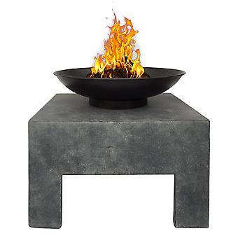 Charles Bentley Metal Fire Bowl met vierkante stand outdoor verwarming emaille behandeld