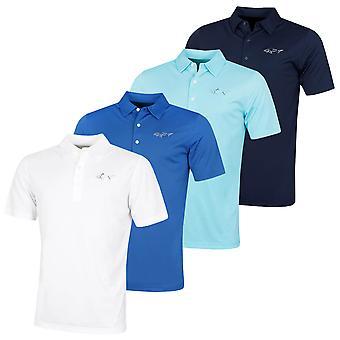 Greg Norman Mens 2020 Protek ML75 2Below Large Logo Golf Polo Shirt