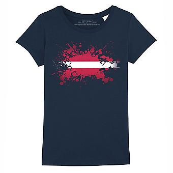 STUFF4 Girl's Round Neck T-Shirt/Latvia/Latvian Flag Splat/Navy Blue