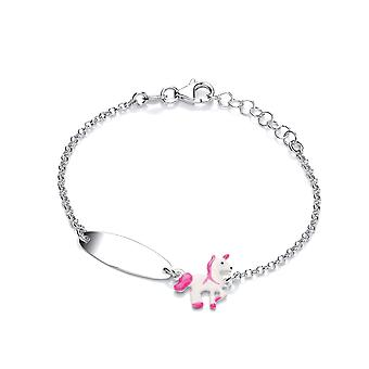 David Deyong Children's Sterling Silver Pink Unicorn Id Bracelet