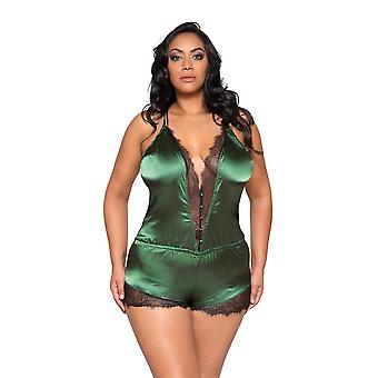 Womens Plus Size Elegant Lace and Green Satin Button Teddy Romper Sleepwear