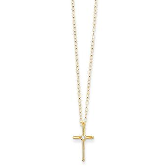 14k Yellow Gold Polished Spring Ring .01ct Diamond Religious Faith Cross for boys or girls Necklace 15 Inch Measures 10x