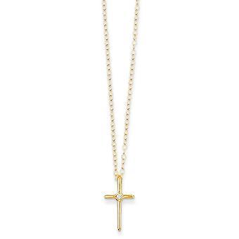 14k žlté zlato leštené jarné prsteň. 01ct Diamond náboženské viery kríž pre chlapcov alebo dievčatá náhrdelník 15 palcov opatrenia 10x