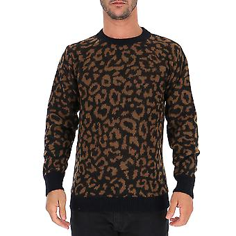 Laneus Mgu1007ccuvaru Men's Leopard Wool Sweater
