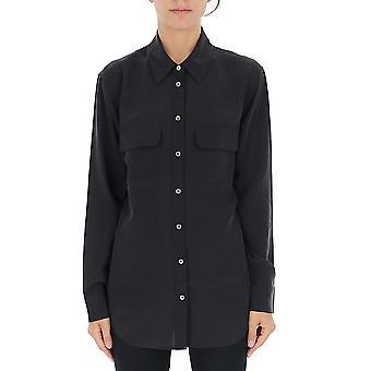 Equipment Q23e231trueblack Women's Black Silk Shirt