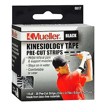 Mueller kinesiology tape, pre-cut strips, black, 20 ea