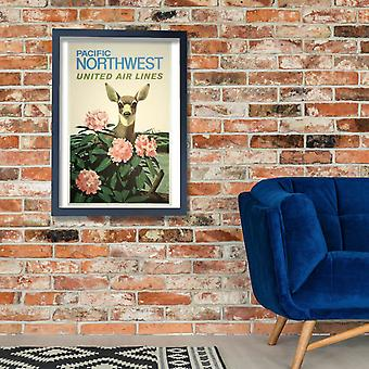 Ar Unidos linhas Noroeste Pacífico Poster impressão giclée