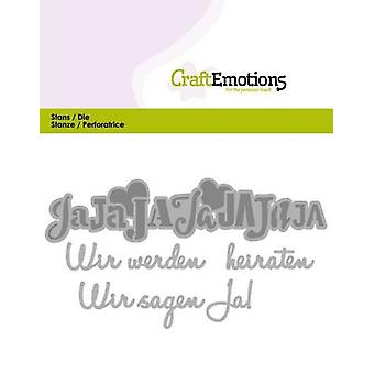 CraftEmotions Die Text - Wir werden heiraten (DE) Kort 11x9cm